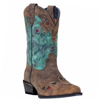 Dan Post Girls Vintage Bluebird Brown/Teal Cowboy Boots