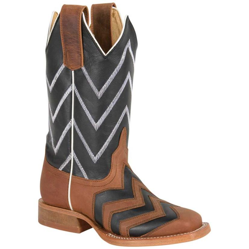 Anderson Bean Boys Crazyhorse Chevron Honey Black Western Boots