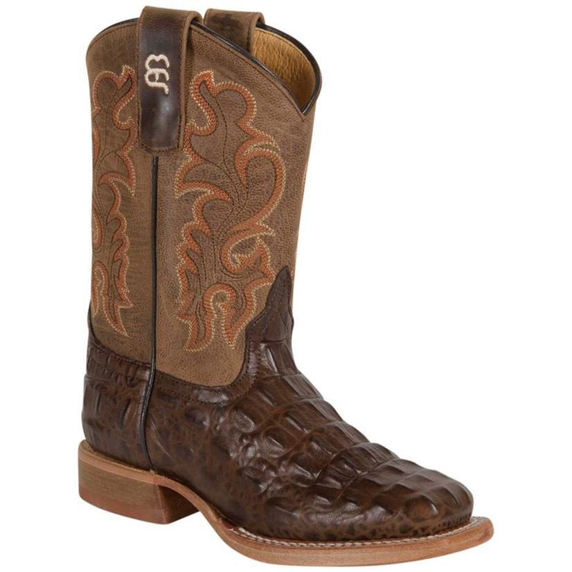 Anderson Bean Kids Chocolate Nile Caiman Print Boots