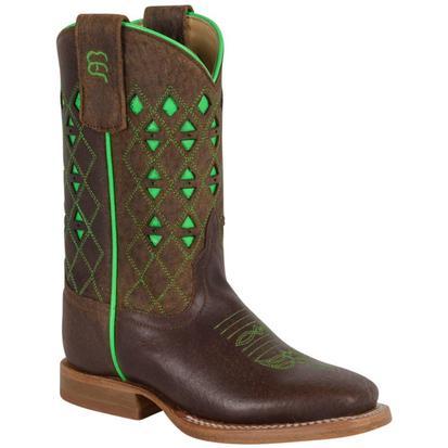 Anderson Bean Boys Neon Green Chocolate Bucko Cowboy Boots