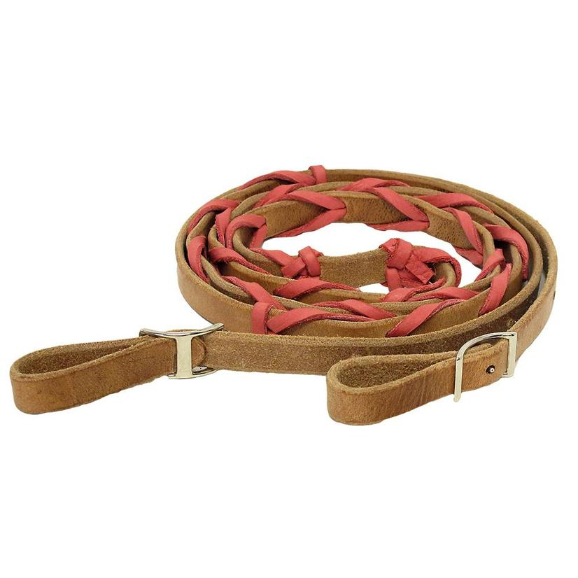 Stt Leather Roping Rein W/Colored Lacing