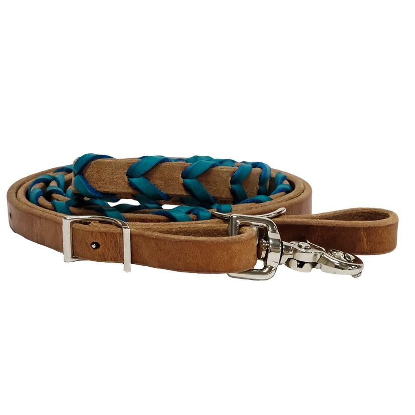 STT Leather Roping Rein w/Colored Lacing TURQUOISE
