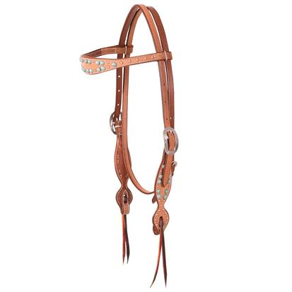 Martin Saddlery Browband Antique Turquoise Dots Headstall