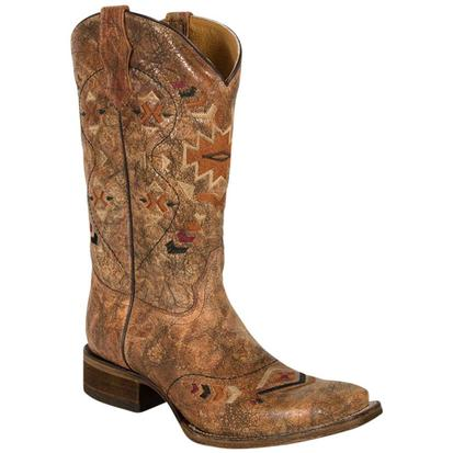 Corral Youth Cowhide Ethnic Square Toe Cowboy Boots