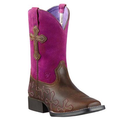 Ariat Girls Cross Roads Brown & Fuschia Boots