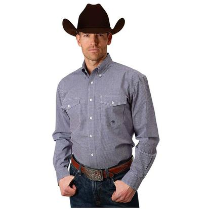 Roper Mens Purple Gingham Long Sleeve Button Down Shirt
