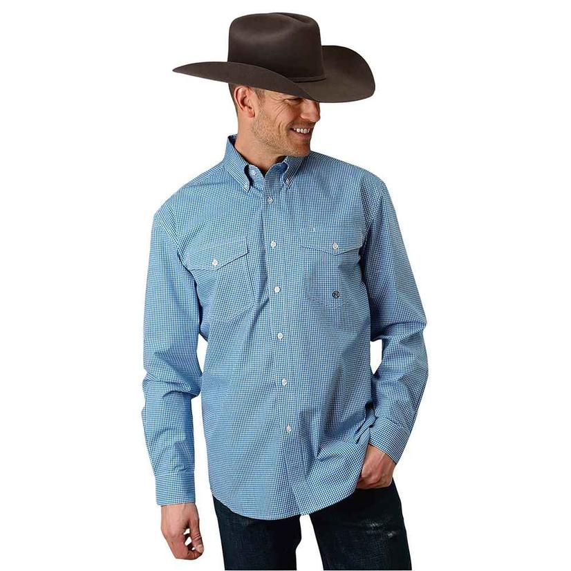 Blue gingham all over plaid button down long sleeve shirt for Mens long sleeve button down shirts
