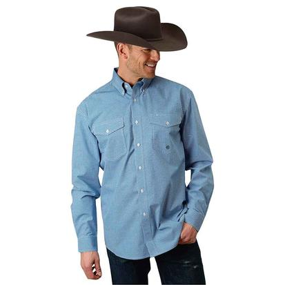 Roper Mens Blue Gingham All Over Plaid Button Down Long Sleeve Shirt
