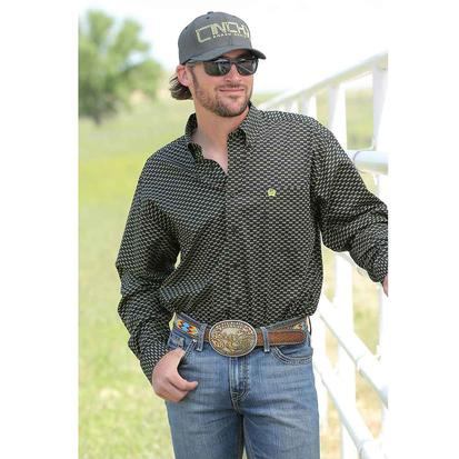 Cinch Mens Black Sunglass Print Shirt
