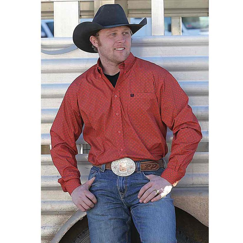 Cinch Mens Orange Print Long Sleeve Button Down Shirt