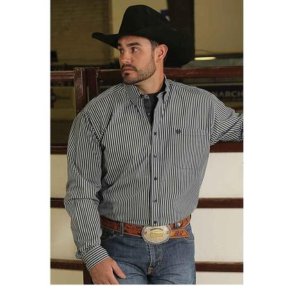 Cinch Mens Navy Stripe Long Sleeve Button Down Shirt