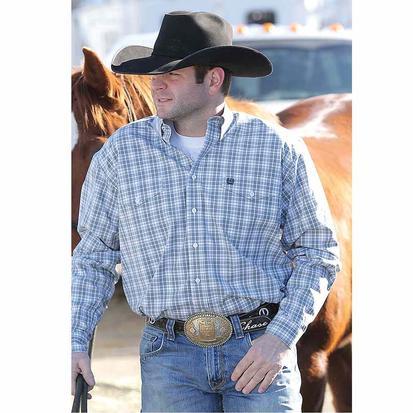 Cinch Mens Grey & Blue Double Pocket Long Sleeve Button Down Shirt