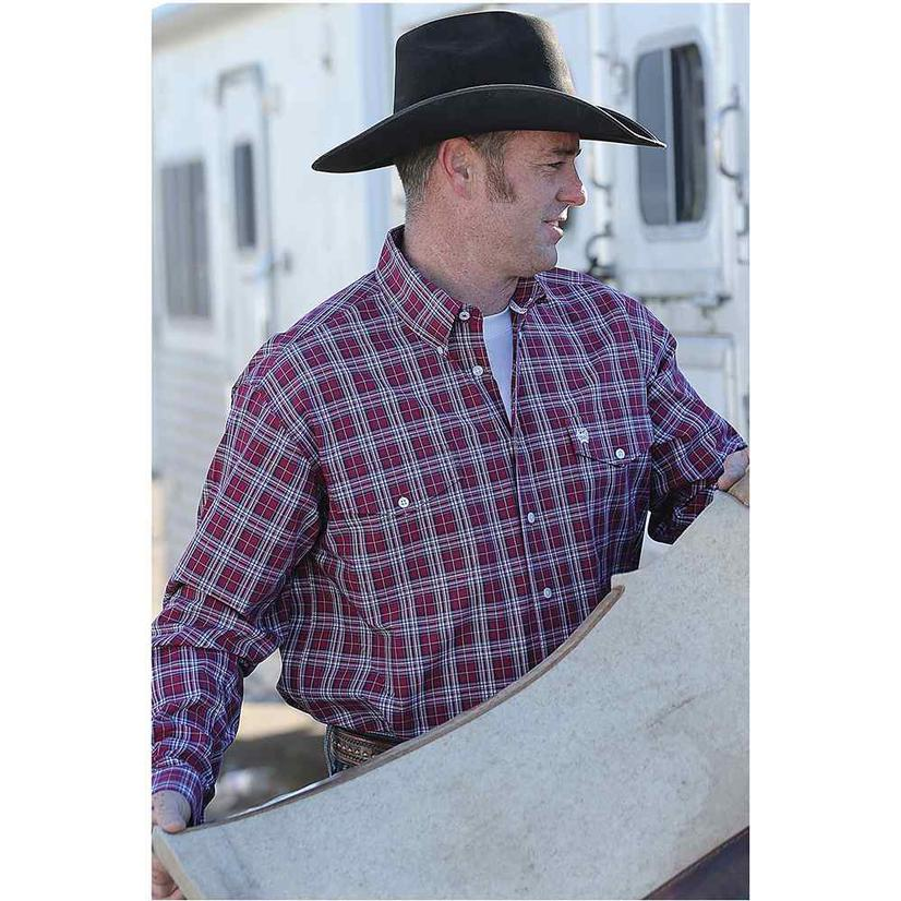 Cinch Mens Maroon Plaid Double Pocket Long Sleeve Shirt