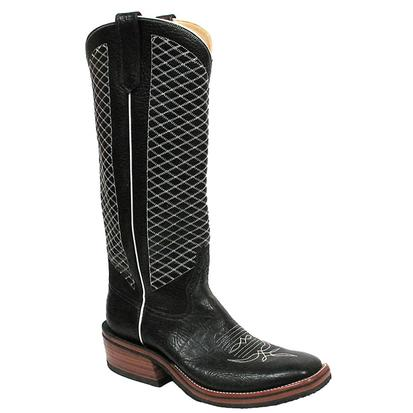 Rios of Mercedes Mens Bulldozer Black White Crosshatch Tall Boots