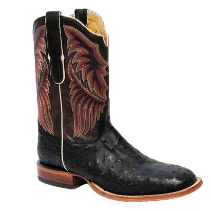 Tony Lama Mens Black Ostrich Ruby Bandolero Boot