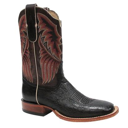 Tony Lama Mens Round Toe Black Smooth Ostrich Boots