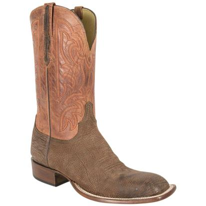 Lucchese Mens Brown Amazon Sheepskin Leather Cowboy Boots