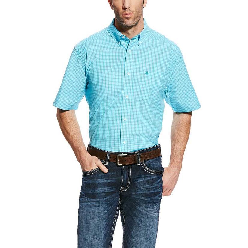 Ariat Mens Gunner Perfect Turquoise Short Sleeve Shirt