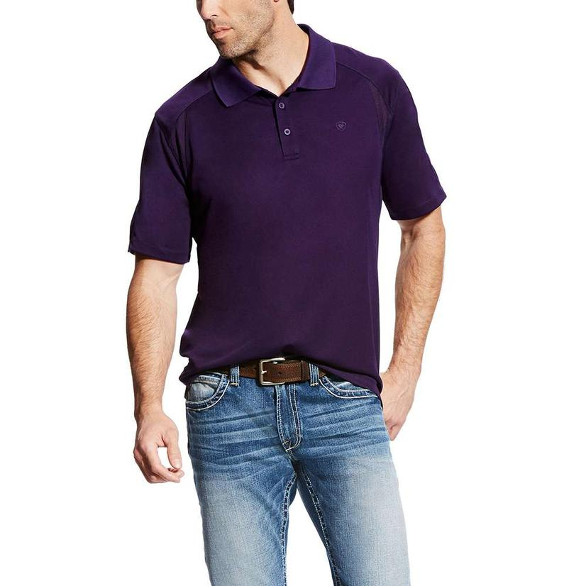 Ariat Mens Ac Polo Plum Depths Purple Short Sleeve Shirt