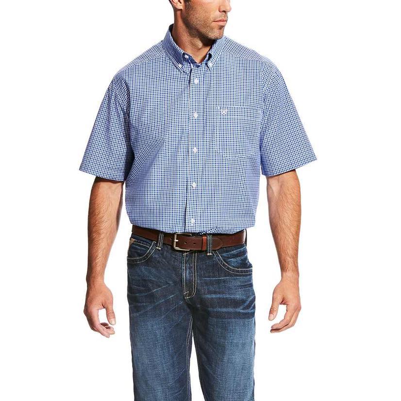 Ariat Mens Marrick Dark Sky Plaid Short Sleeve Shirt