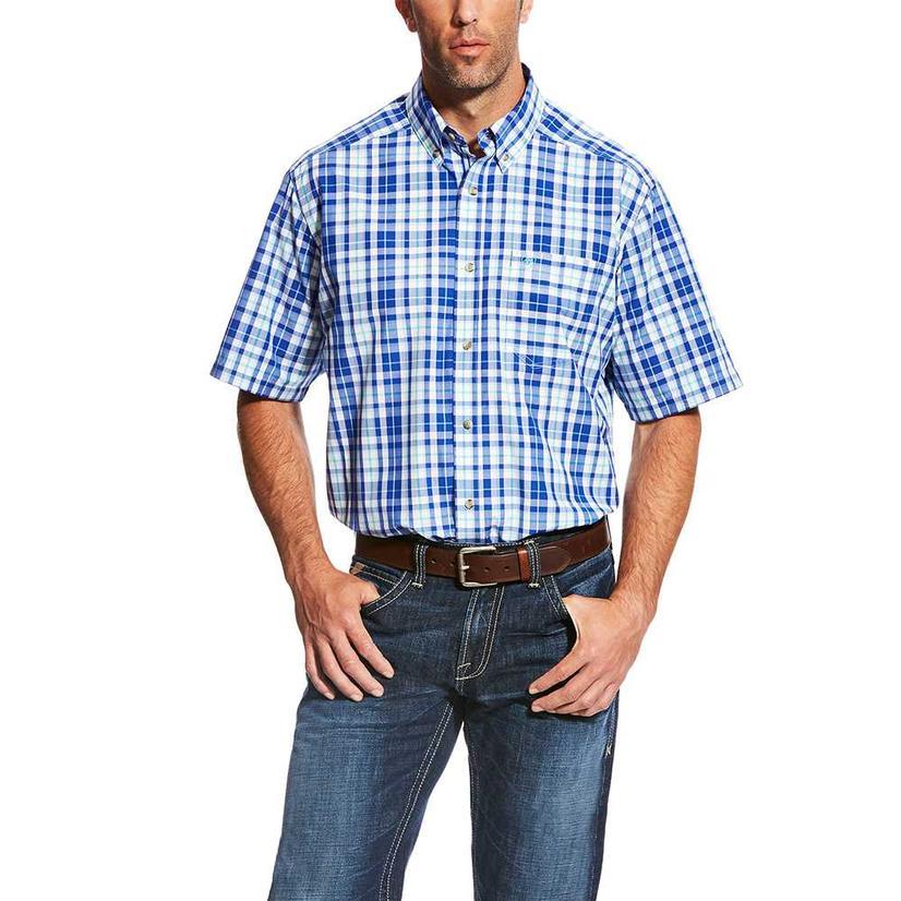 Ariat Mens Moudy White Blue Plaid Short Sleeve Shirt