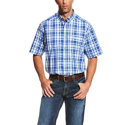 Ariat Mens Moudy White Blue Plaid Short Sleeve Shirt