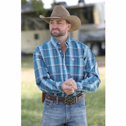 Cinch Long Sleeve Teal Plaid Western Shirt