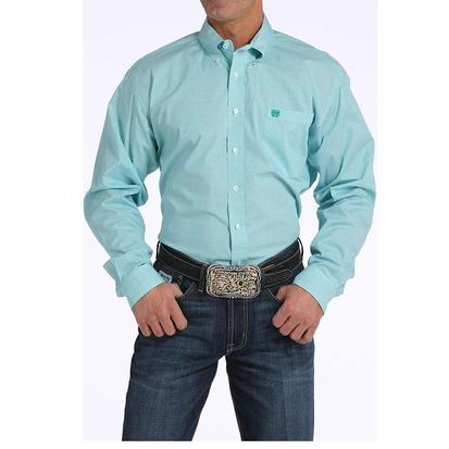 Cinch Mens Blue & Grey Print Long Sleeve Button Down Shirt
