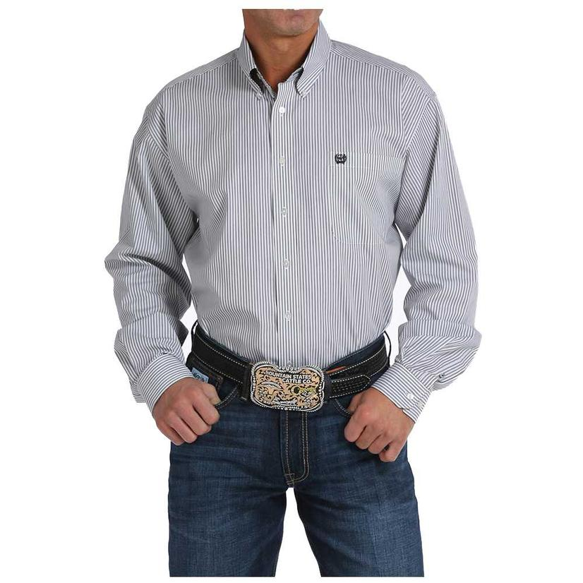 Cinch Mens Black & White Vertical Stripe Long Sleeve Shirt
