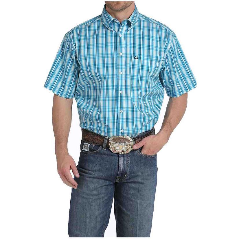 Cinch Mens Turquoise Plaid Arena Flex Short Sleeve Shirt