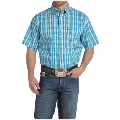 Cinch Mens Turquoise Plaid Arena Flex Short Sleeve Shirt