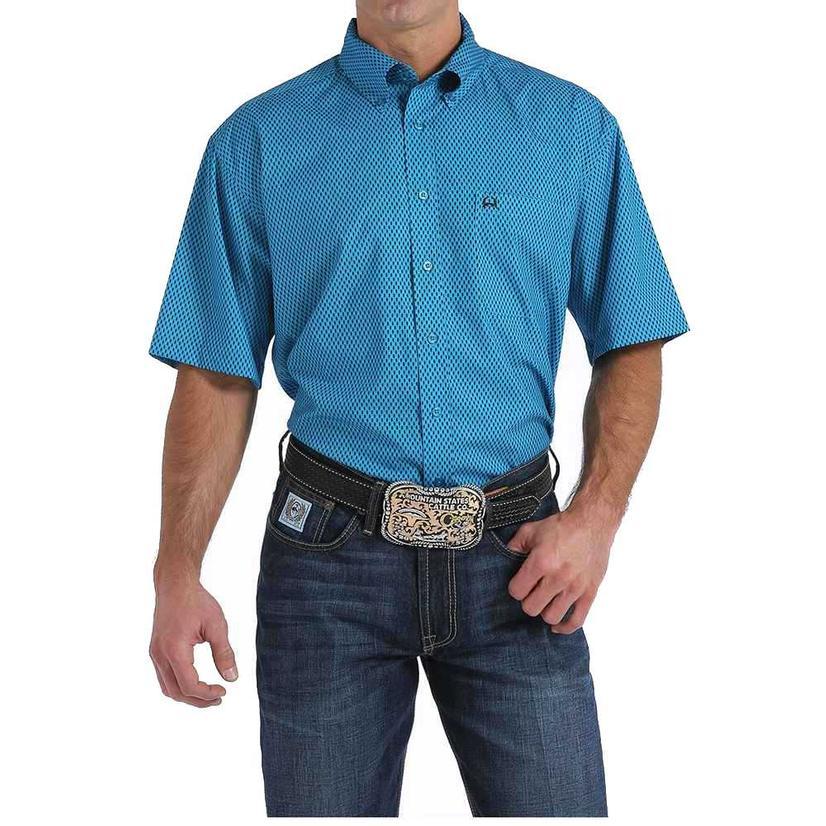 Cinch Mens Blue Print Button Down Arena Flex Short Sleeve Shirt