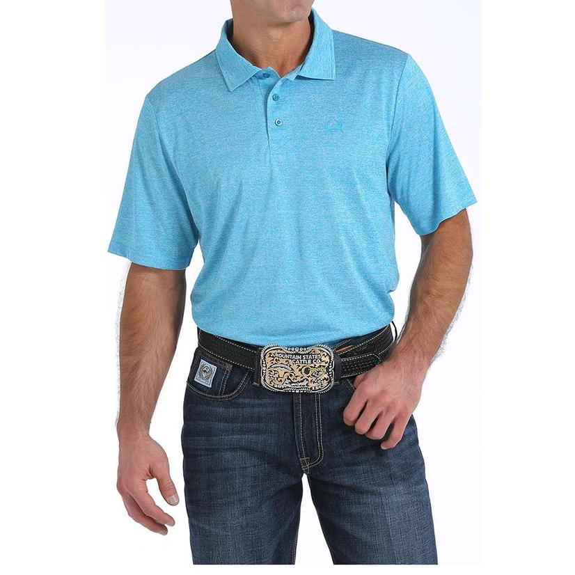 Cinch Mens Blue Solid Polo Shirt