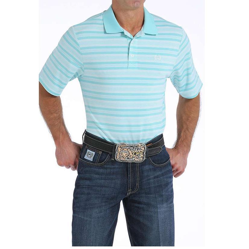 Cinch Mens Blue Striped Polo Shirt