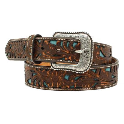 Ariat Mens Leather Floral Embossed Overlay Turquoise/Brown Belt