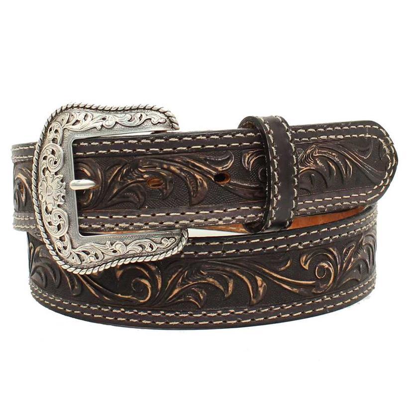 Nocona Mens Western Scroll Pecos Etched Buckle Belt