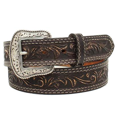 Nocona Mens Western Scroll Pecos Etched Buckle Belt