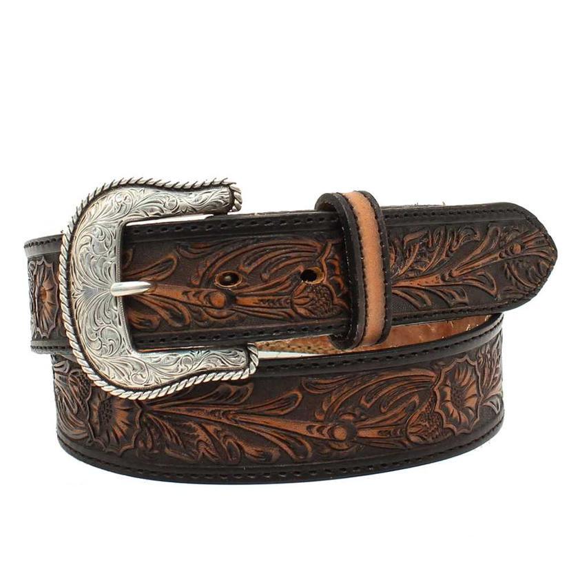 Nocona Mens Black Tooled Salinas Antiqued Belt