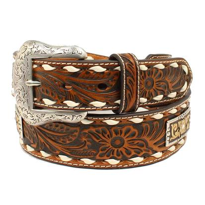 Nocona Mens Tooled Antique Belt with Rectangle Conchos