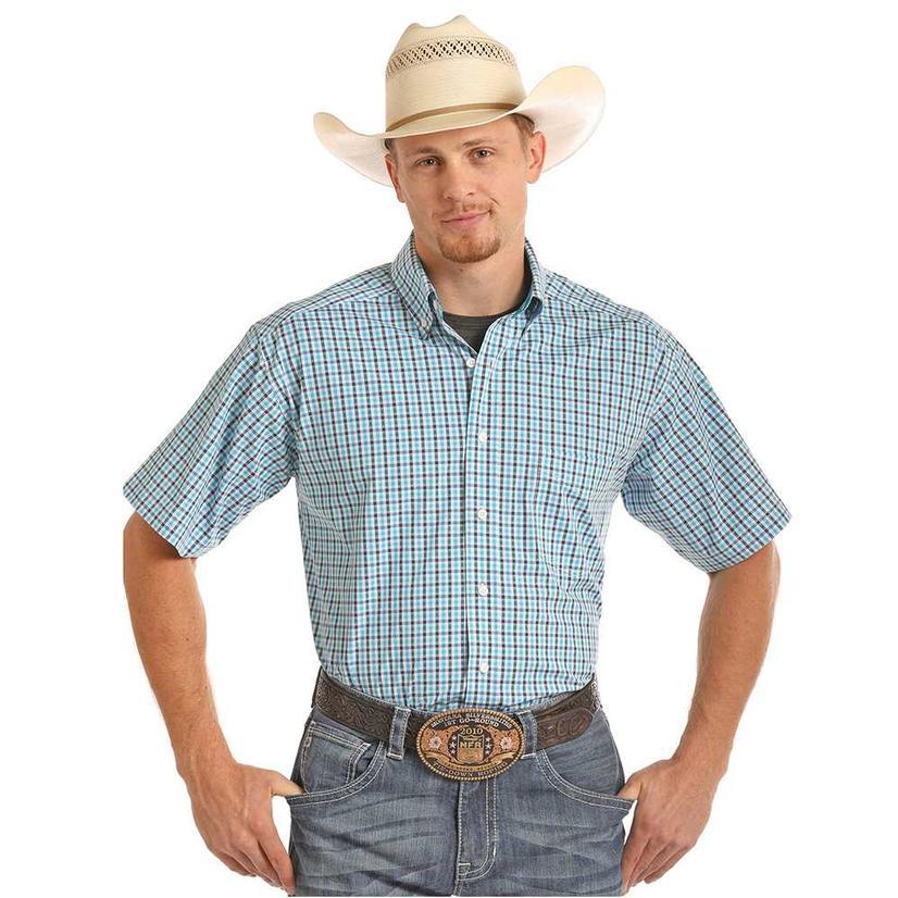 d4090406e Tuf Cooper Blue amp Navy Plaid Short Sleeve Western Shirt