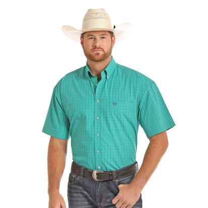 Panhandle Slim Mens Teal Plaid Shortsleeve Shirt