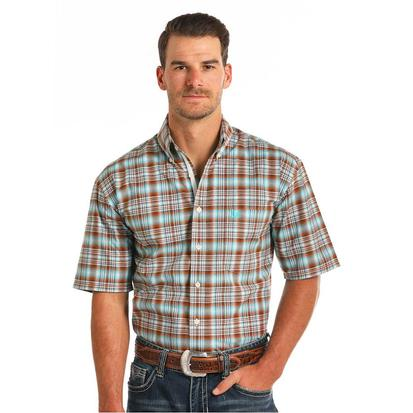 Rock & Roll Cowboy Mens Brown and Teal Short Sleeve Shirt