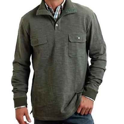 Stetson Mens 1/4 Button Up Green Pullover Sweater