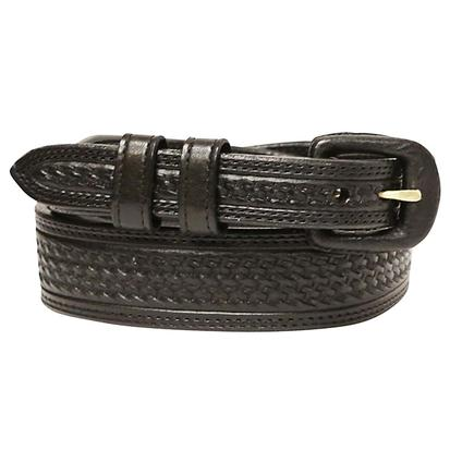 Vogt Mens Black Basket Weave Leather Belt