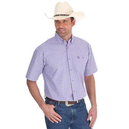 Wrangler Mens George Strait Purple Plaid Short Sleeve Shirt
