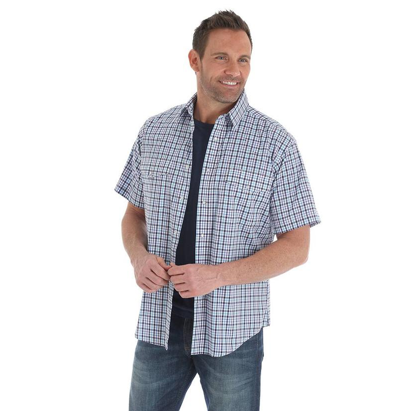 9b8a0be4802 Wrangler Mens Wrinkle Resistant Purple Navy Plaid Short Sleeve Western Shirt