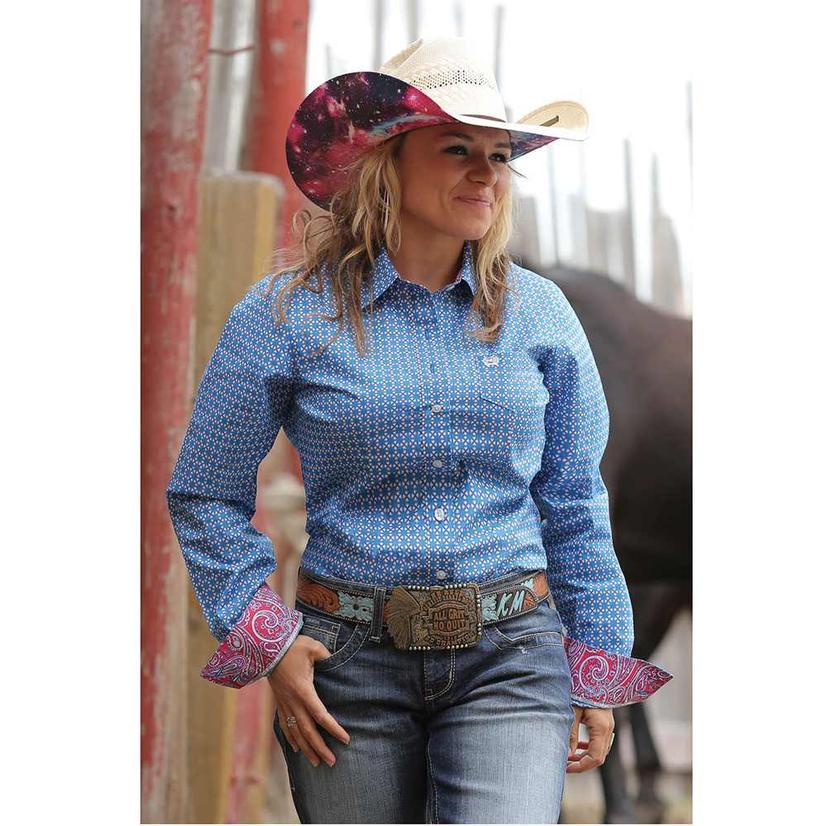 Cinch Womens Blue Print Long Sleeve Button Shirt