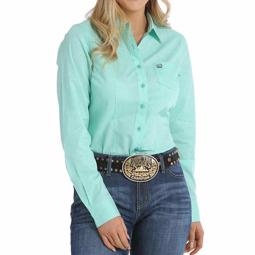 Cinch Womens Teal Print Long Sleeve Button Down Shirt