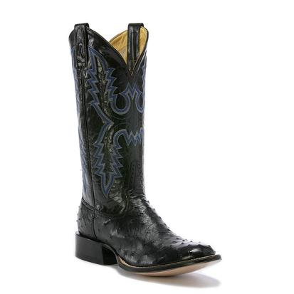 Rod Patrick Mens Black Full Quill Ostrich Cowboy Boots