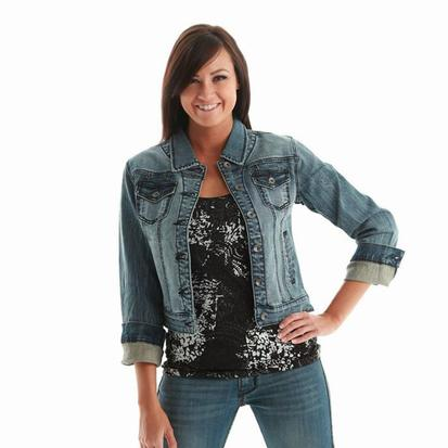 Cowgirl Tuff Womens Medium Wash Bucking Horse Denim Jacket